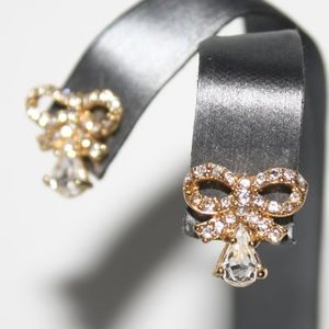 Dainty gold and cz bow earrings